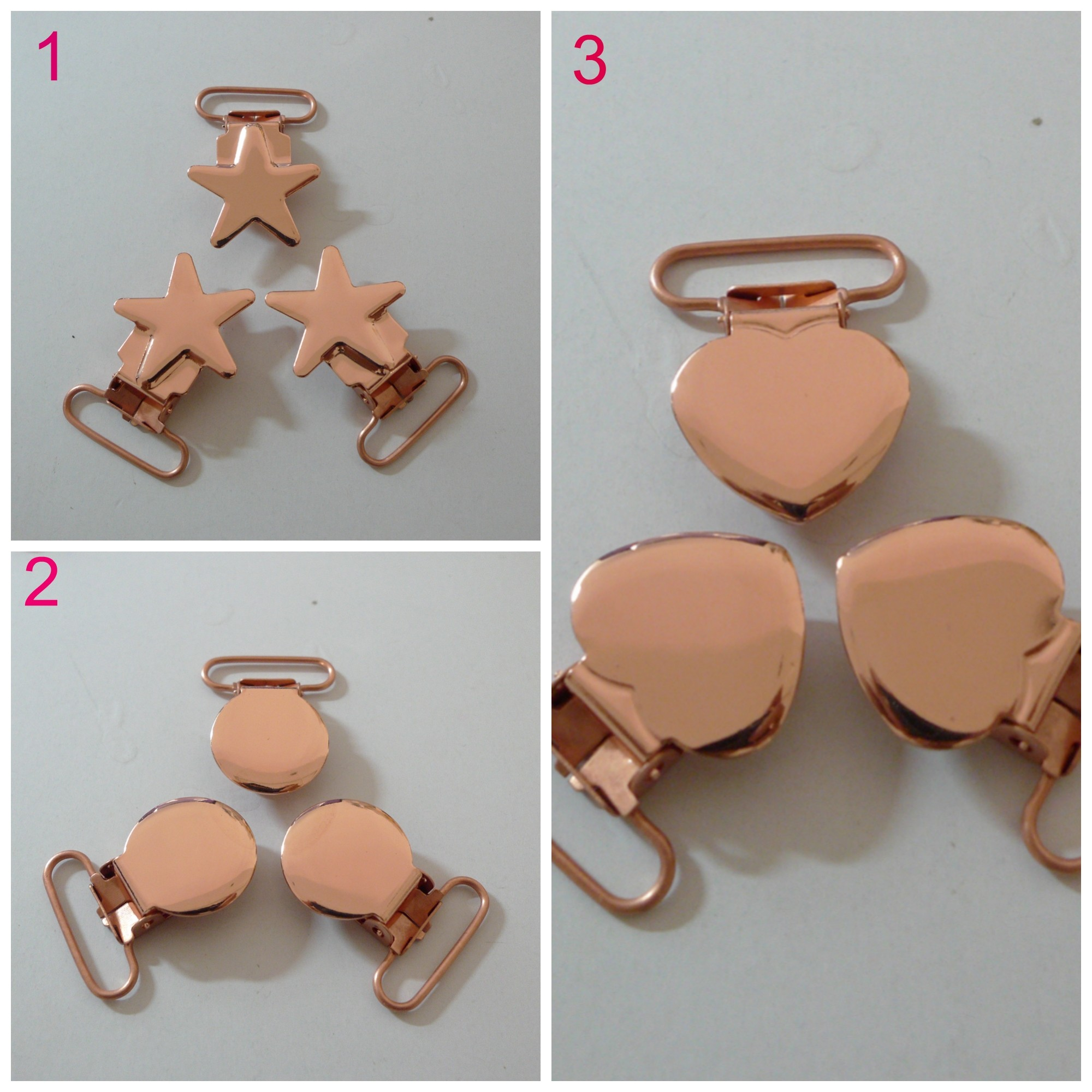 25pcs Rose Gold Pacifier Clips