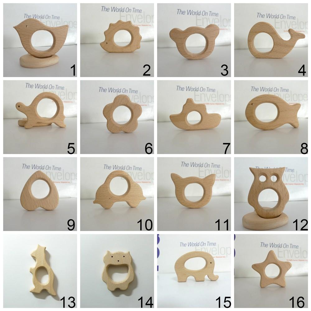 10PCS Organic Natural Newborn Beech Wooden Teether Toys