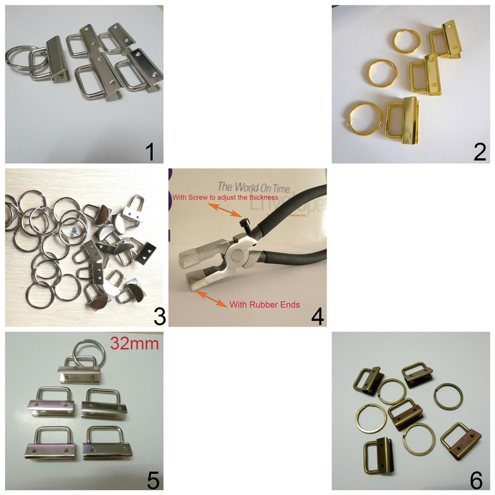 50 Sets 1'' 25mm Wristlet Key Fob Chain Hardware DIY sets with Key Ring