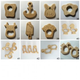 10PCS Organic Beech Wooden Teether Toys