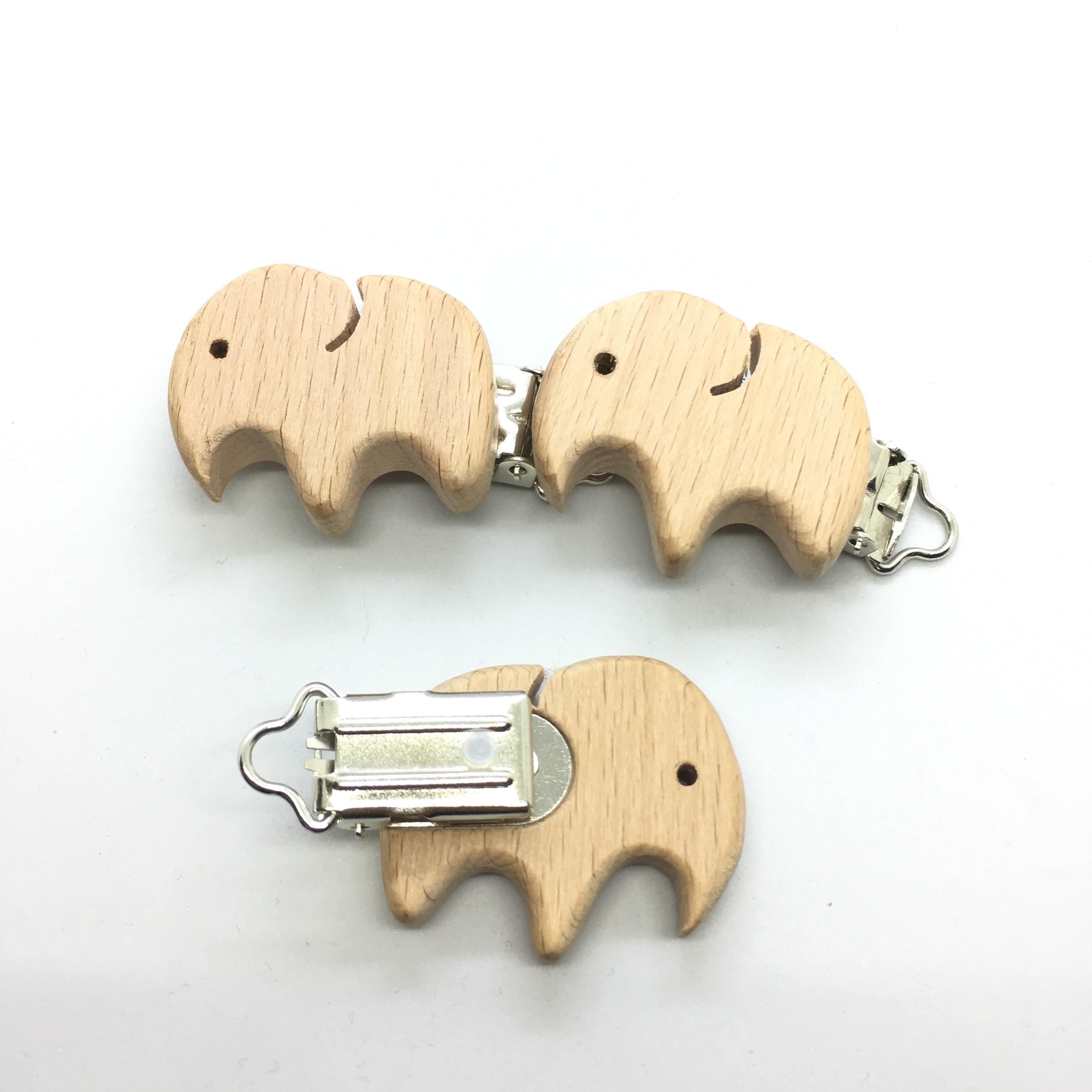 25PCS Organic Natural Newborn Beech Wooden Pacifier Clips