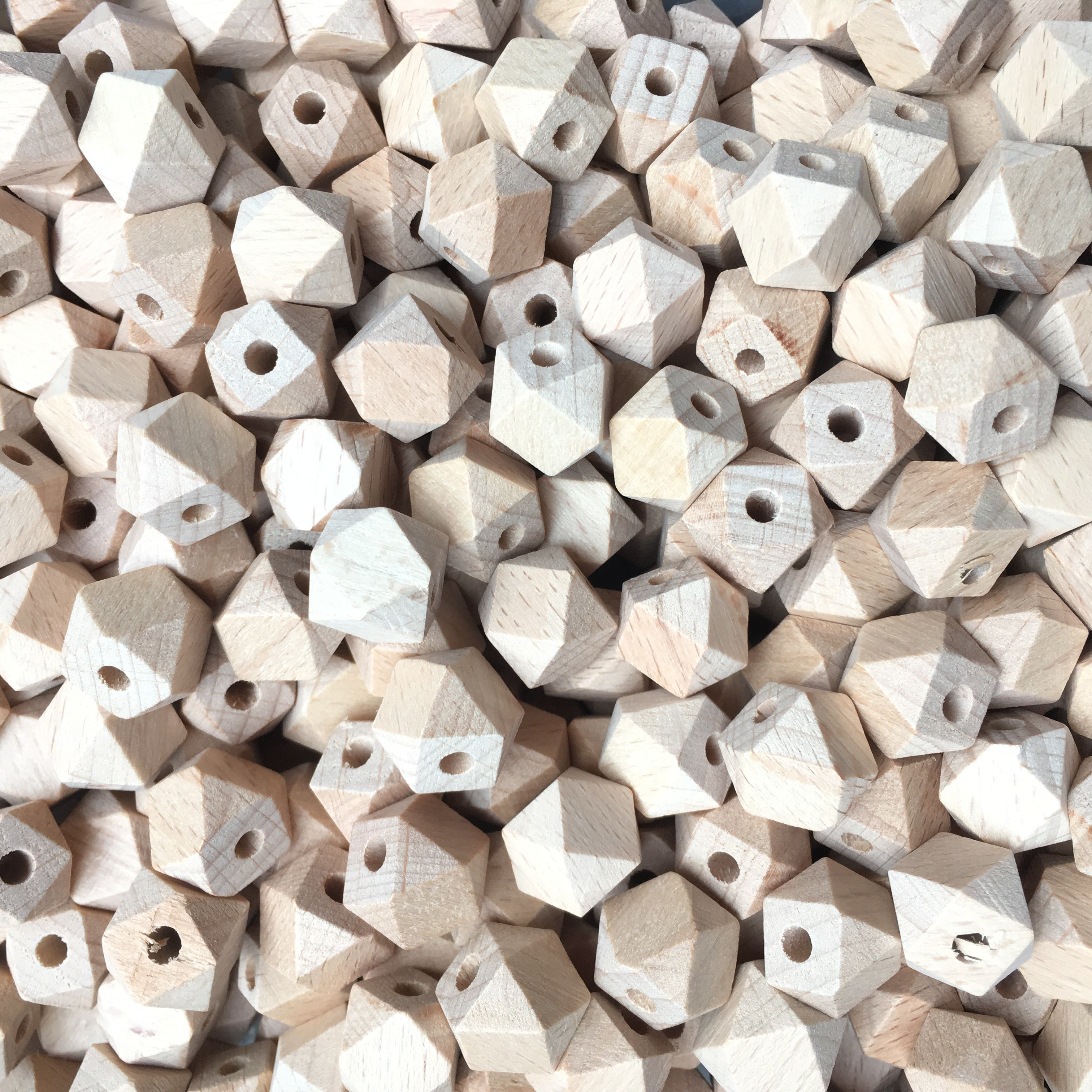 100pcs 12mm-14mm-16mm Beech Wooden Hexagon Beads Spacer Wholesale