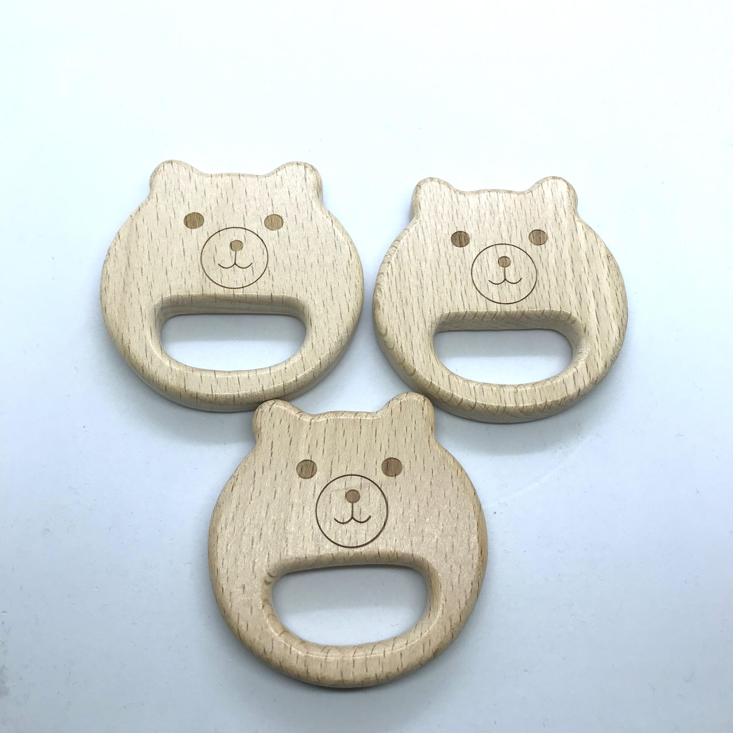 10PCS Organic Newborn Bear Shape Beech Wooden Teether Toys