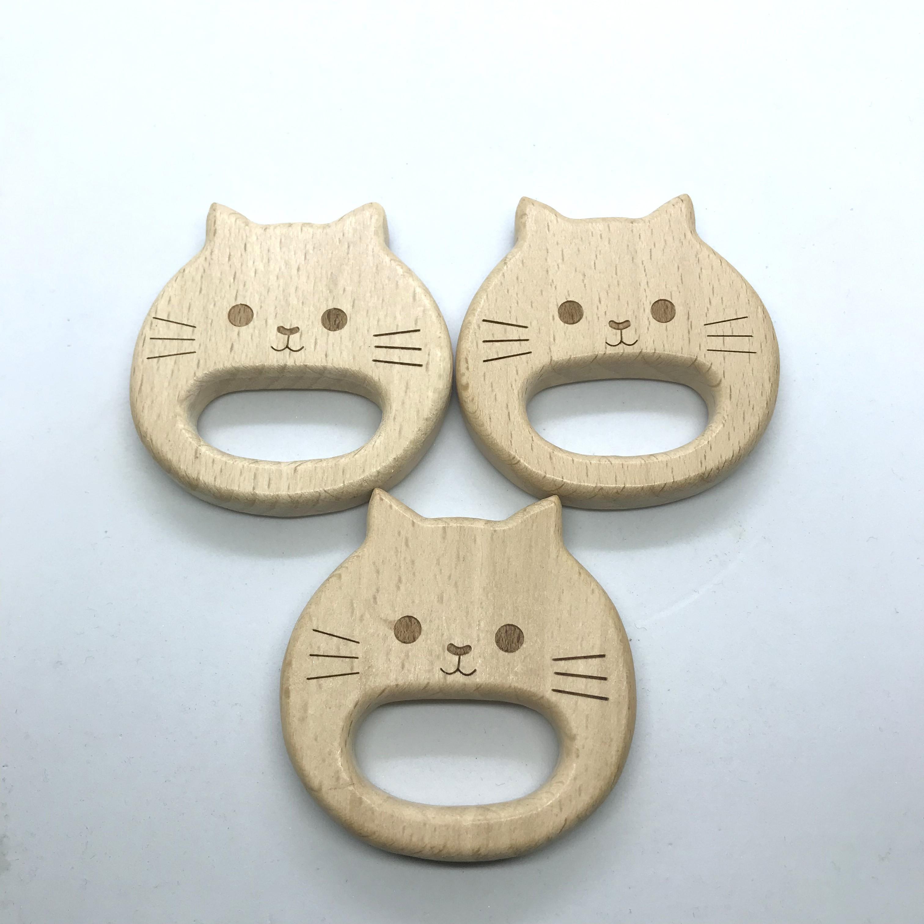 10PCS Organic Newborn Cat Kitty Shape Beech Wooden Teether Toys