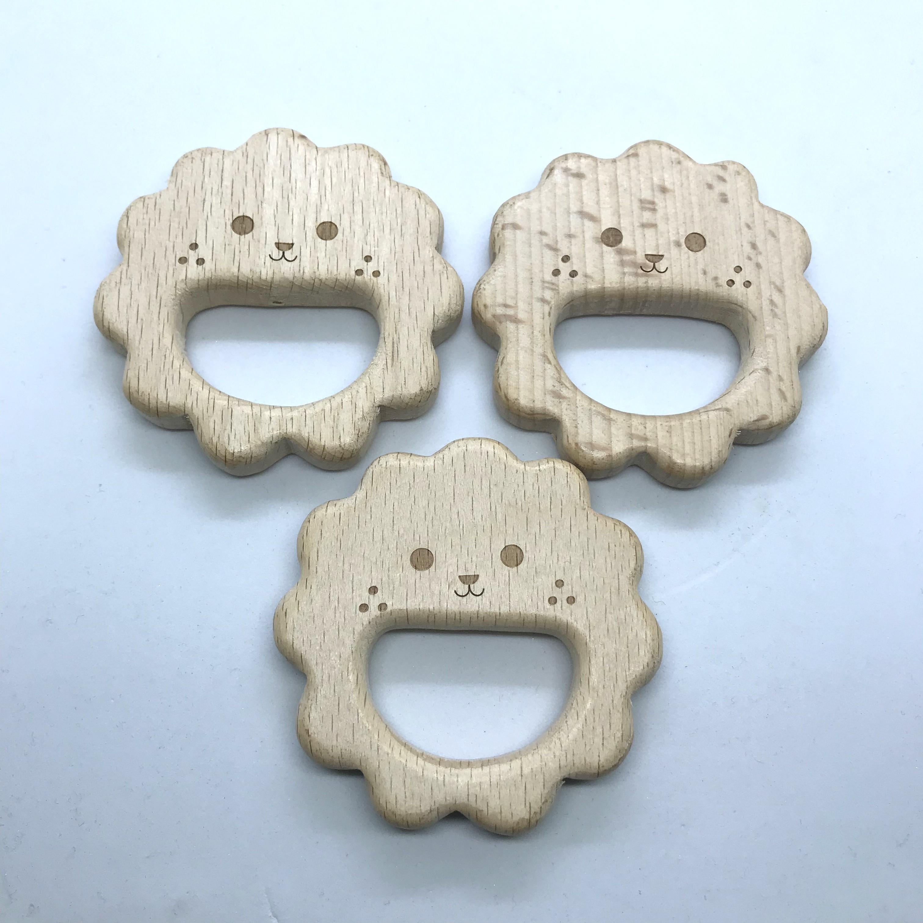 10PCS Organic Newborn Sheep Shape Beech Wooden Teether Toys