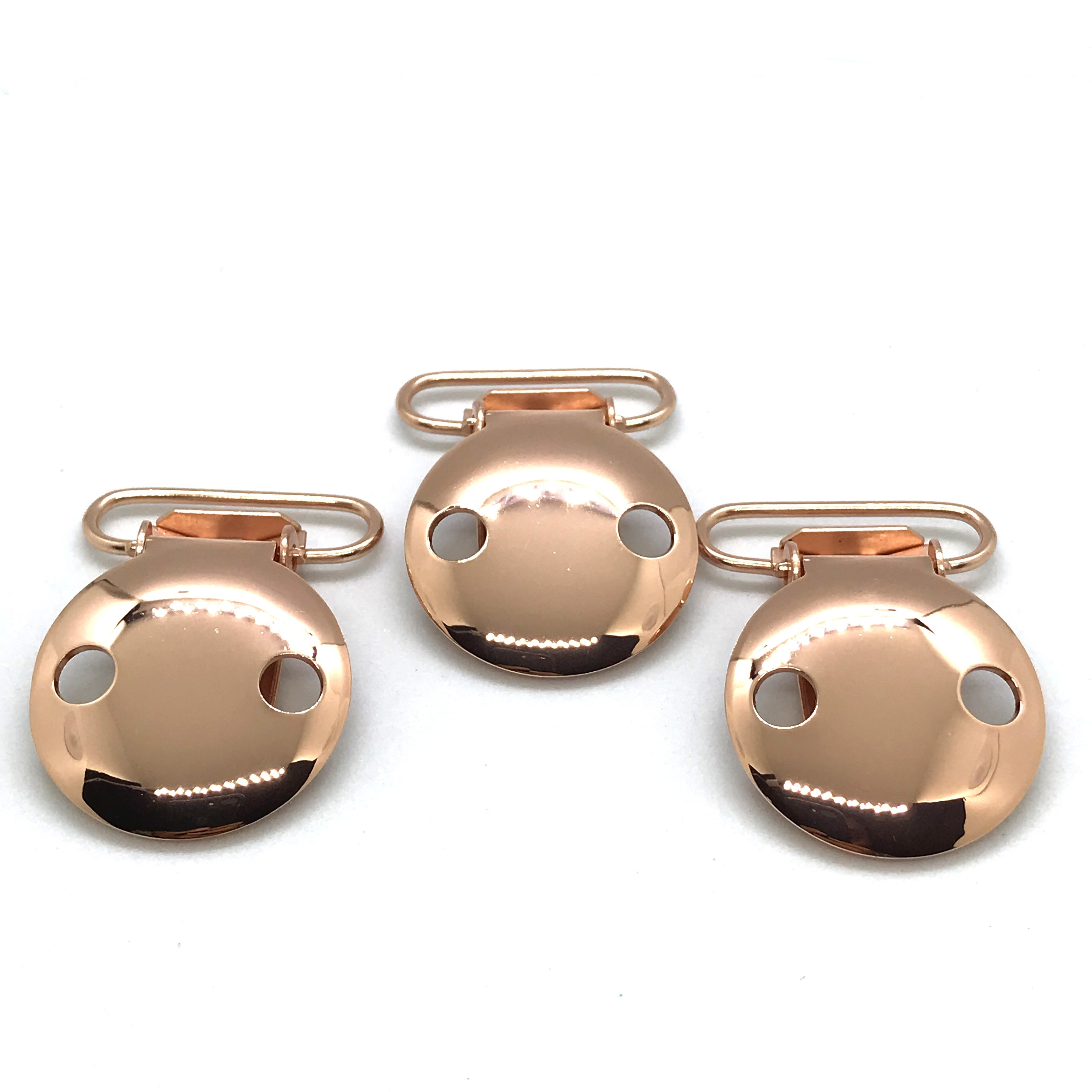 China Rose Gold  25mm 2 Holes Pacifier Clips EN-12586 Passed