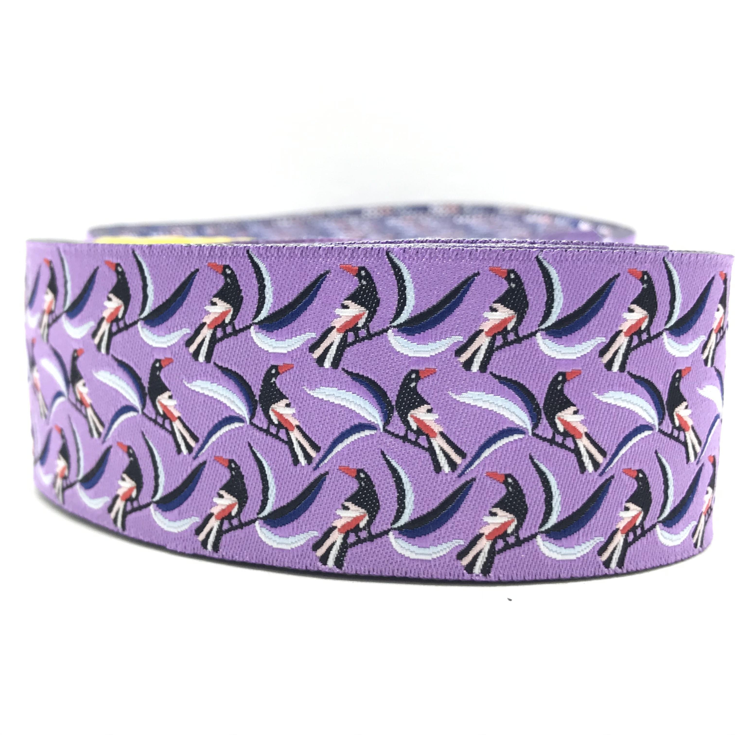 "10 meters 1.5"" 38mm Magpie Birds European Jacquard Ribbon For Dog Collar"
