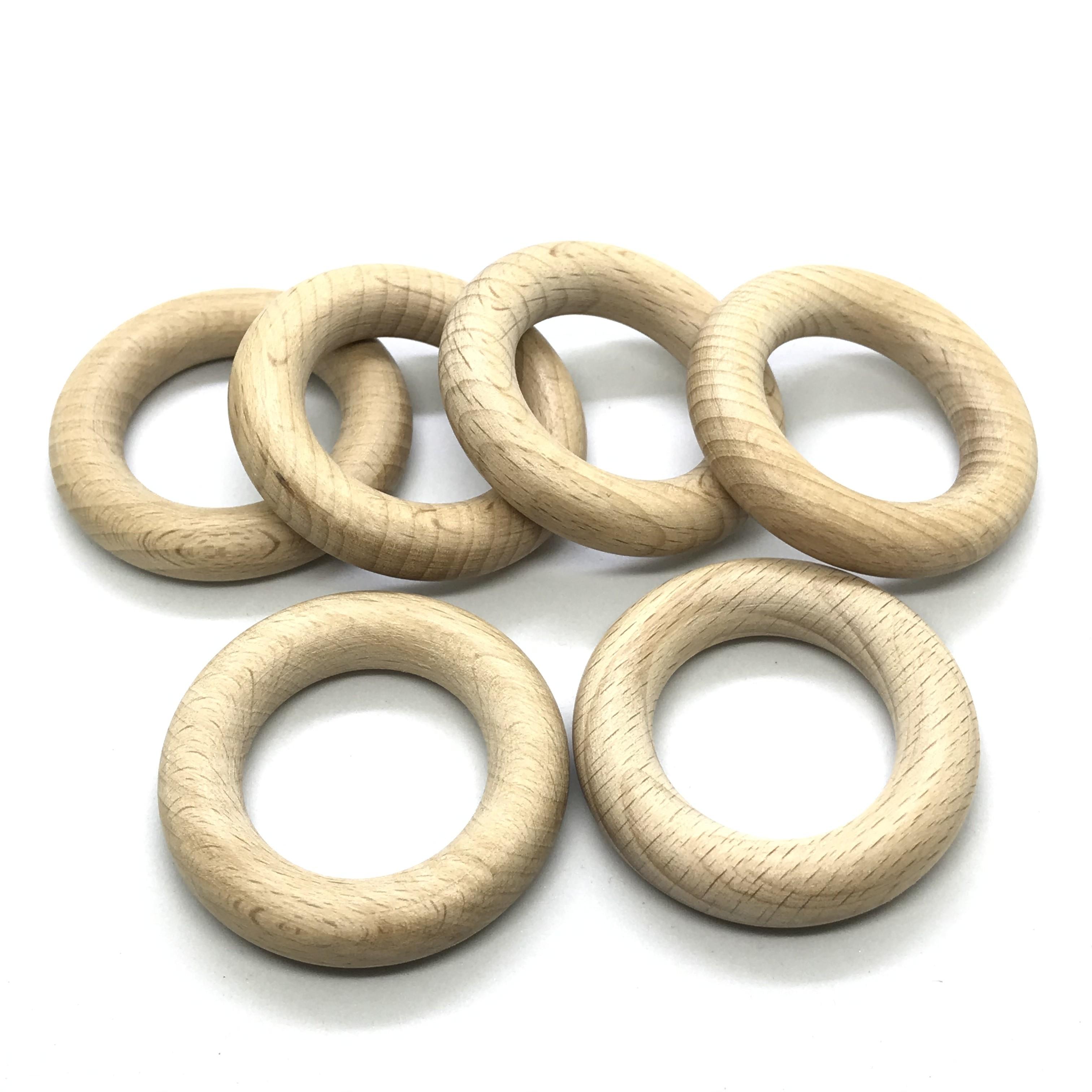 25pcs 5.0cm Organic Beech Wood Ring