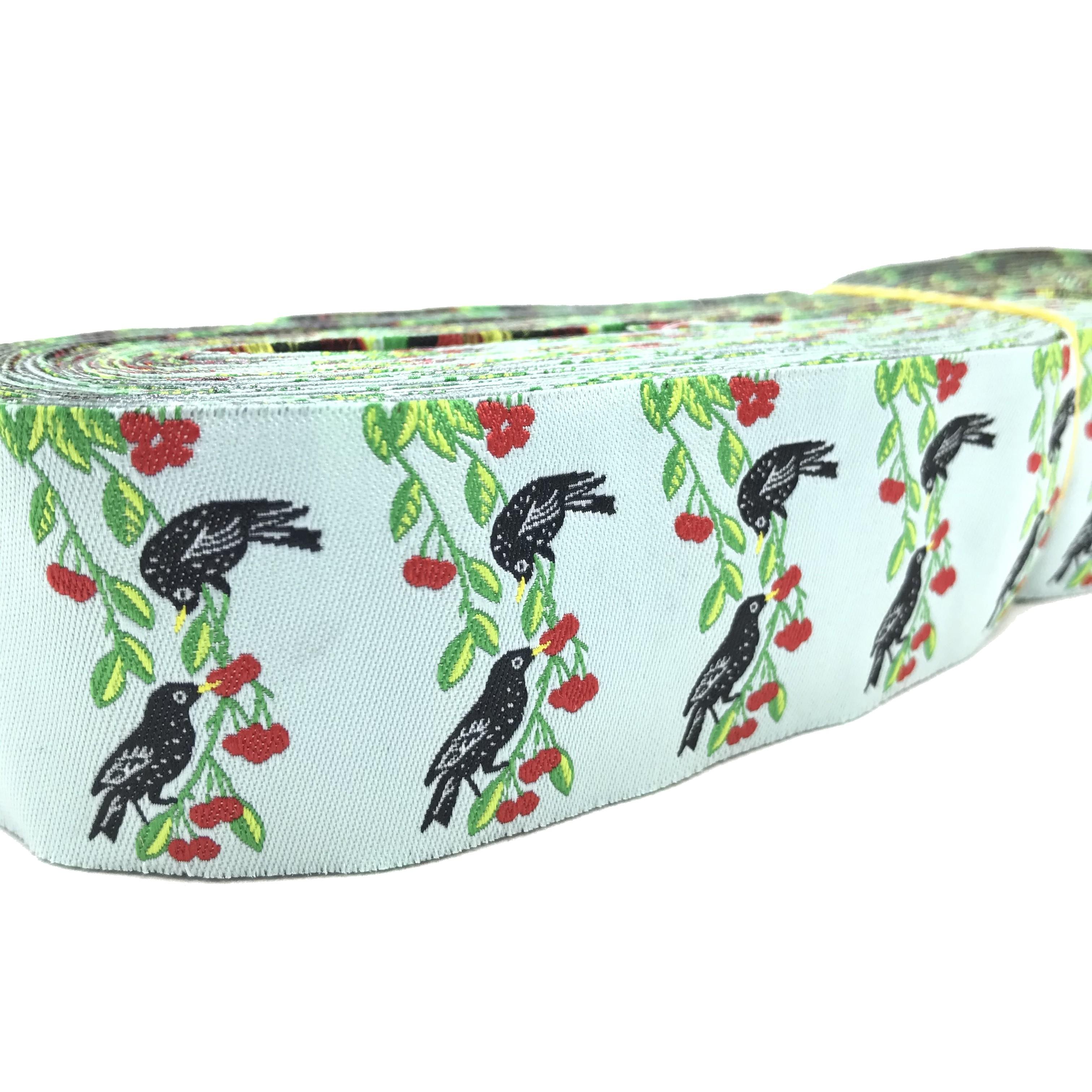 "10 meters 1.5"" 38mm Splendid Cherry and Birds European Jacquard Ribbon For Dog Collar"