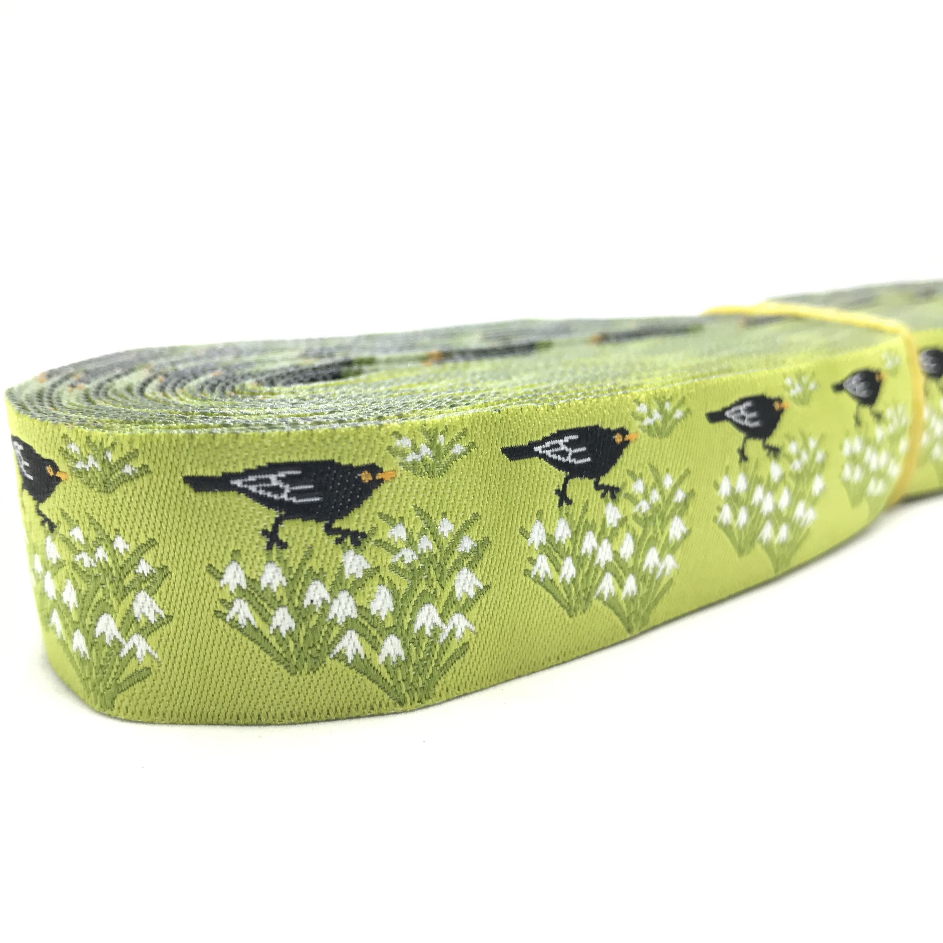 "10 meters 7/8"" 22mm Lime Color Spring Flowers and Birds European Jacquard Ribbon For Dog Collar"