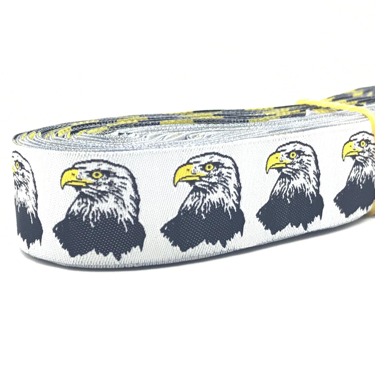 "10 meters 7/8"" 22mm Bald Eagle European Jacquard Ribbon For Dog Collar"