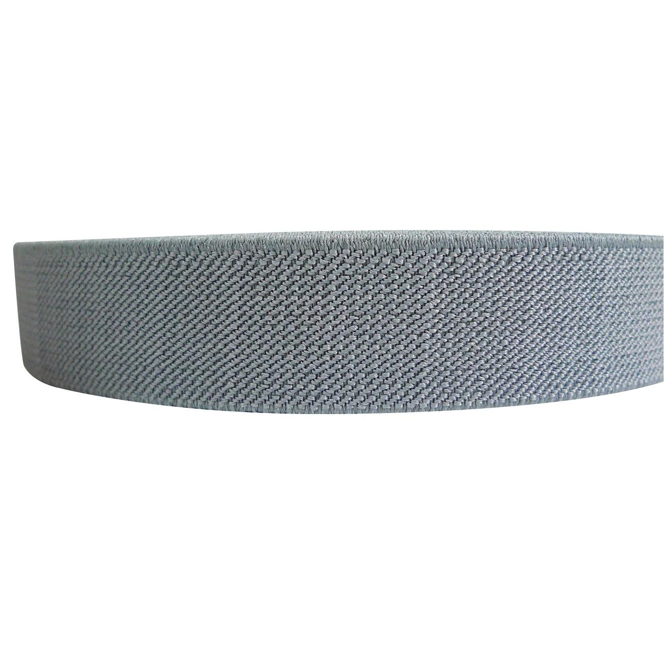 "12 Meters 1"" 25mm Solid Grey Color Suspender Elastic Webbing Wholesale"