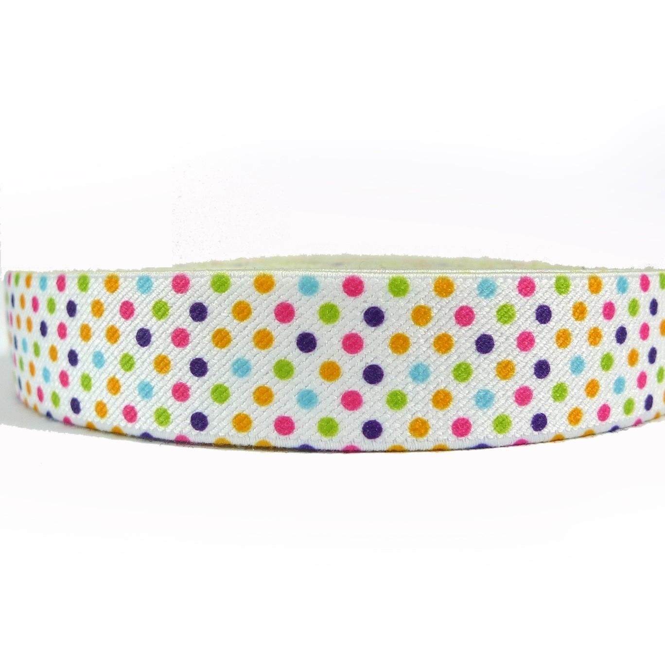 """12 Meters 1"""" 25mm  Polka Dots Suspender Elastic Webbing Wholesale"""