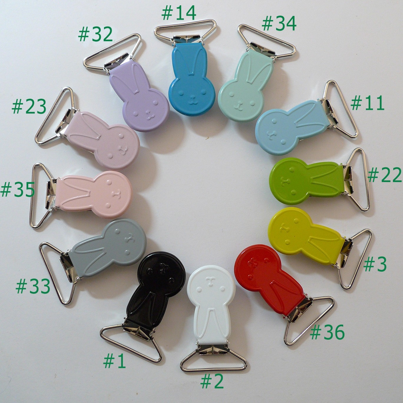 25pcs 1'' 25mm Enamel Rabbits Suspender Clips