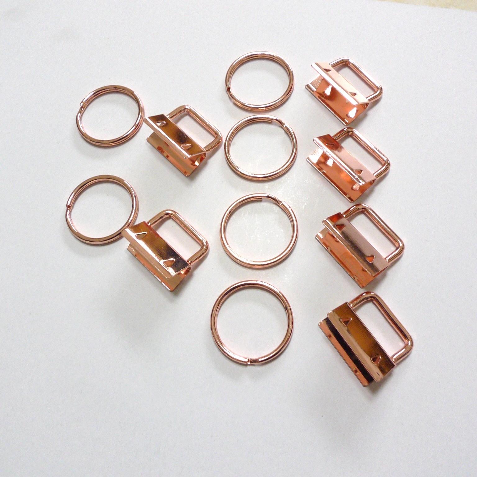 50 Sets Rose Gold Key Fob Hardware