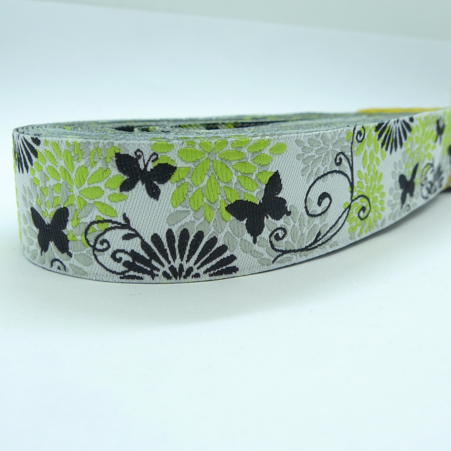 "10meters 7/8"" 22mm Vintage Butterfly Flower Dog Collar Jacquard Ribbon"