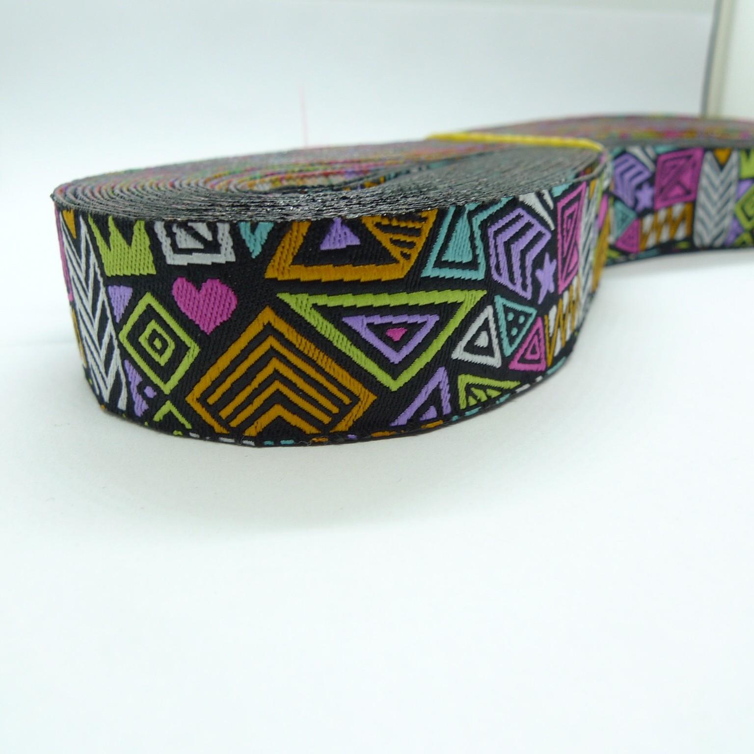 "10meters 7/8"" 22mm Abstract Tribal Pattern European Jacquard Ribbon"