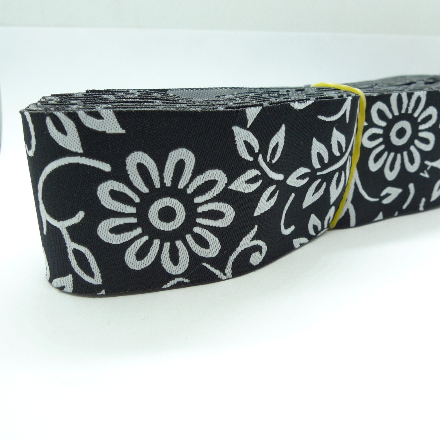 10meters 38mm  White Flower Black Tone European Jacquard Ribbon