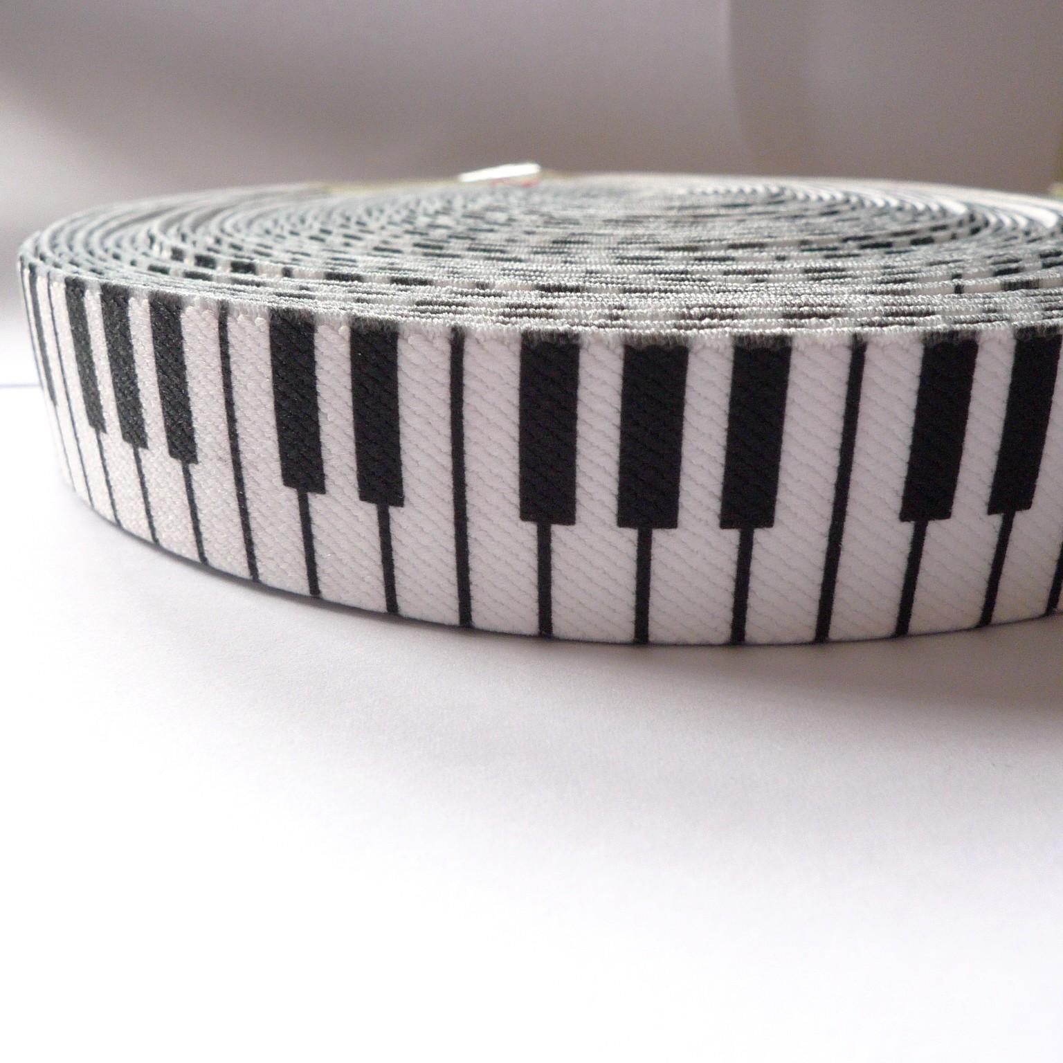 "12 Meters 1"" 25mm Novelty Piano Pattern Suspender Elastic Webbing Factory"