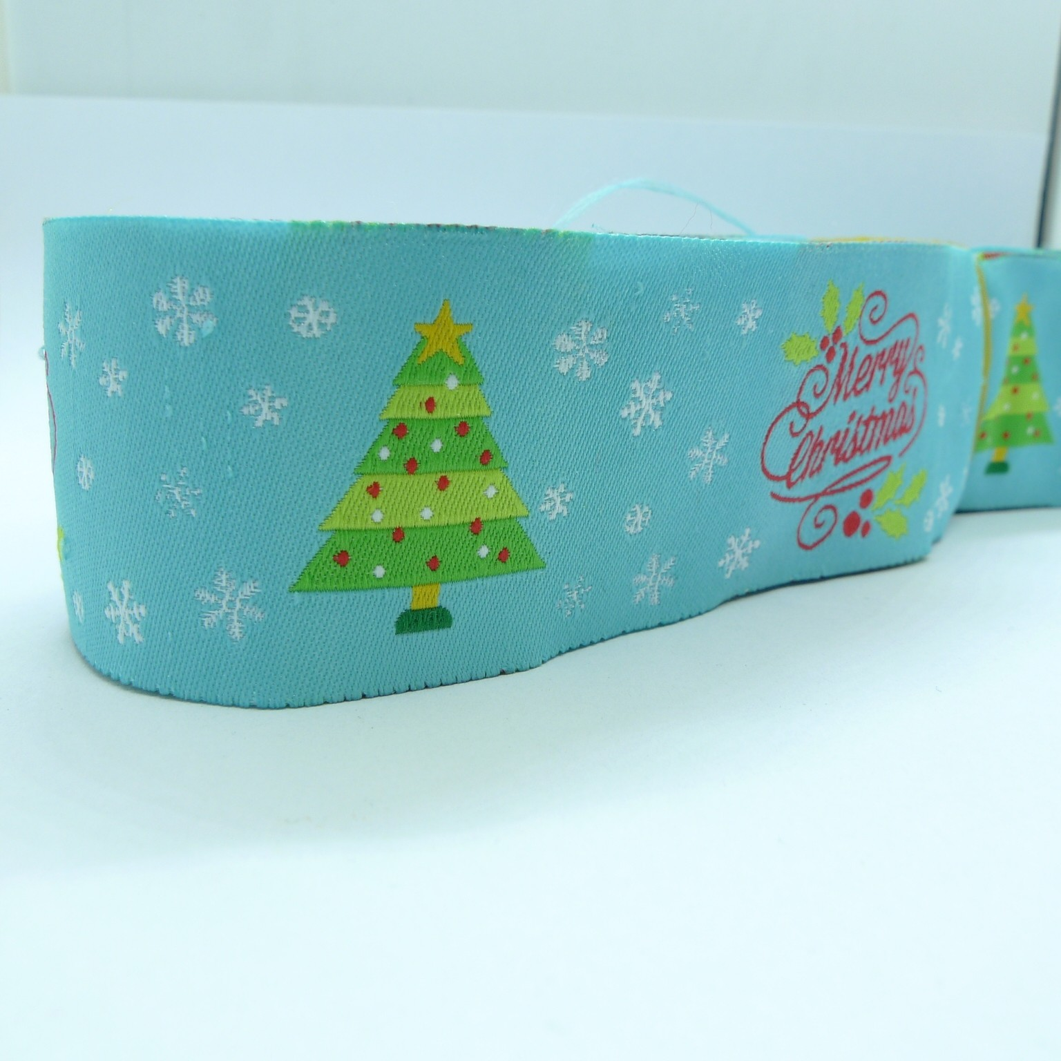 "10 meters 1.5"" 38mm Merry Christmas Pattern European Jacquard Ribbon"