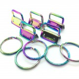 50 Sets 1'' 25mm Rainbow Color Wristlet Key Fob Chain Hardware DIY sets with Key Ring