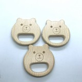 10PCS Organic Newborn Bear Shape Beech Wooden Teether Toys
