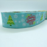 "10meters 7/8"" 22mm Merry Christmas Pattern European Jacquard Ribbon"