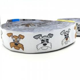 "10 meters 7/8"" 22mm Miniature Schnauzer European Jacquard Ribbon For Dog Collar"