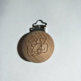 50pcs Custom Logo Beech Wooden Pacifier Clips