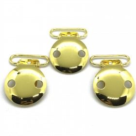 China Gold  25mm 2 Holes Pacifier Clips EN-12586 Passed
