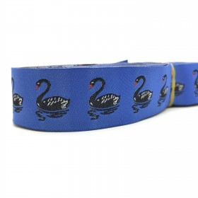 "10 meters 7/8"" 22mm Black Swan European Jacquard Ribbon For Dog Collar"