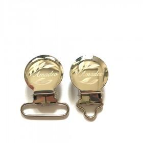 50pcs 1'' 25mm Custom Engrave Logo Suspender Clips Pacifier Clips