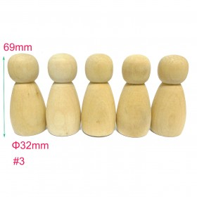 #3 20pcs Large Wooden Peg Doll Family Female