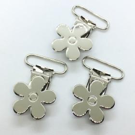 25pcs Silver Color Flower Pacifier Clips