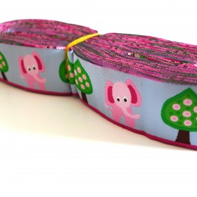 10meters 28mm Pink Elephants European Dog Collar Jacquard Ribbon
