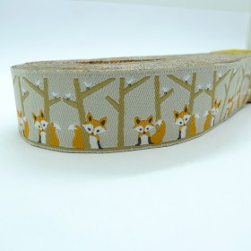 "10meters 7/8"" 22mm Forest  Friends Fox European Jacquard Ribbon"
