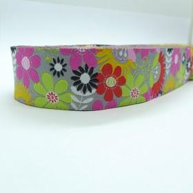 "10meters 7/8"" 22mm Vintage Poppy Flower Dog Collar Jacquard Ribbon"