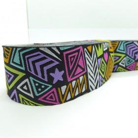 10meters 38mm Abstract Tribal Pattern European Jacquard Ribbon
