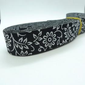 "10meters 7/8"" 22mm White Flower European Jacquard Ribbon For Dog Collar"