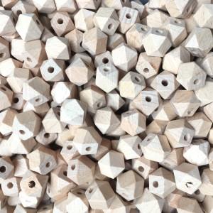 100pcs 12mm-14mm-16mm Beech Wooden Hexagon Beads Spacer Wholesale