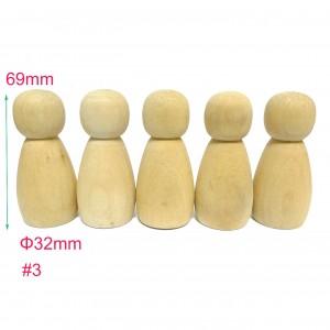 #3 20pcs Large Wooden Peg Doll Family Female