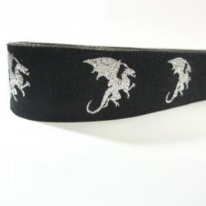 10meters 22mm Silver Dragon European Dog Collar Jacquard Ribbon