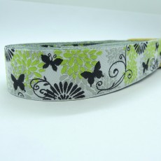 """10meters 7/8"""" 22mm Vintage Butterfly Flower Dog Collar Jacquard Ribbon"""