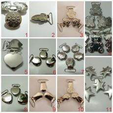 25pcs 1'' 25mm Enamel Silver Suspender Clips