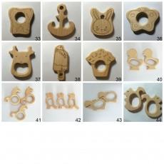 10PCS Organic Beech Wooden Teether Toys